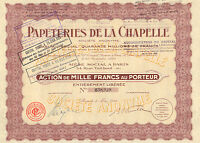 Papeteries de la Chapelle SA, accion, Paris, 1932