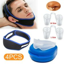4 Anti Snore Device Stop Snoring Sleep Aid Mouth Guard Device Chin Belt UK Hot