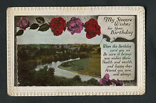 C1930s Birthday Card - River & Roses - Health, Wealth & Happy Days