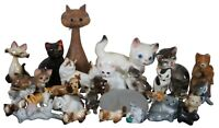 Lot of 29 Glass Wood Ceramic Cat Figurines Miniatures Germany Japan Vintage