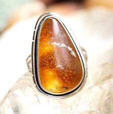 Silberring 53 Bernstein Eckig Natur Modern Schlicht Handarbeit Braun Silber Ring