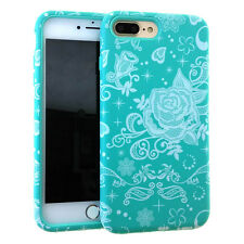 For iPhone 7+ PLUS - HARD&SOFT HYBRID ARMOR CASE COVER MINT BLUE WHITE LACE ROSE