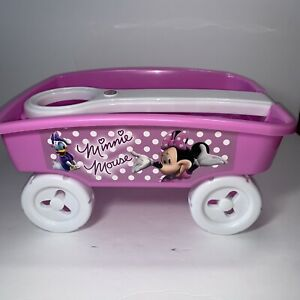 """Minnie Mouse Logo Kids Toddler Pink Shovel Pull Along Toy Plastic Wagon 13x9"""""""