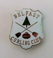 Vintage Belfast Maine Curling Club Enameled Pin by Kinney Providence R.I.
