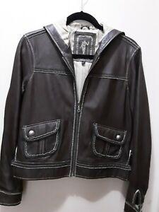 My Tribe Brown 100% Leather Jacket W/hood Sz Lg