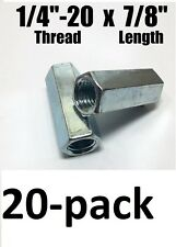 "20-pack 1/4""-20 x W3/8"" x L7/8"" Coarse Grade A Hex Rod Coupling Nut Zinc Plated"
