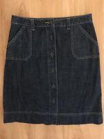 Ladies REGATTA Dark Blue Denim Skirt Size 10 Mid Length Knee