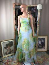 Vintage 70s Hippie Blue Floral Garden Sheer Maxi Ruffle Skirt Dress Boho Sz 7