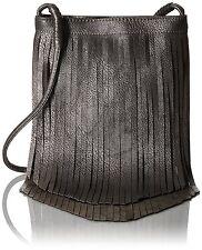 Twig & Arrow Metallic Fringe Crossbody Messenger Bag, Pewter, One Size