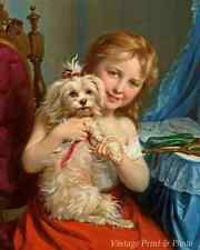 Little Girl and Her Dog by Fritz Zuber-Buhler - Art Play Ribbons 8x10 Print 0627