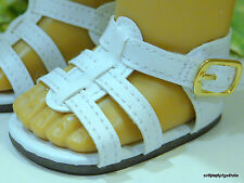 """WHITE Strappy DOLL SANDALS SHOES fits 18"""" AMERICAN GIRL Doll Clothes C/Z"""