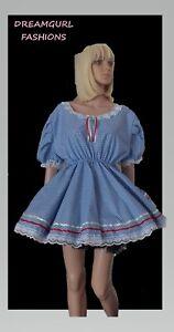 Unisex short adult baby gingham dress Fancy dress sissy lolita cosplay
