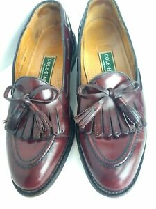 BRAGANO COLE HAAN BURGUNDY LEATHER WINGTIP TASSEL Kiltie LOAFER MENS 9 D