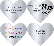 SILVER HEARTS Wedding Invitation Labels Personalised  Envelope Stickers  x 100!
