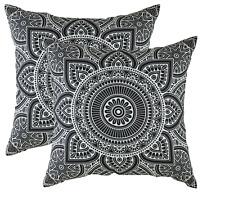 "set of 2 Indian Black & White Floral Cushion Cover Mandala Henna Meditation 16"""