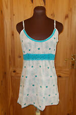 WHITE STUFF ivory off-white cyan blue floral crochet camisole vest tunic top 12