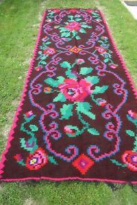 Romanian traditional flat weave kilim , hand woven wool European tribal  rug