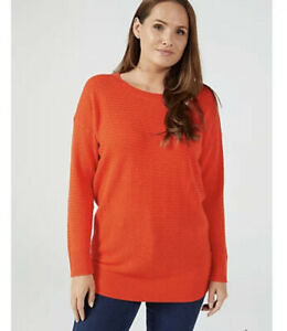 Ruth Langsford Basketweave Knitted Jumper Sunset Large New