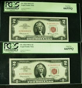1963A $2 United States Notes 2 Consecutive Serial Number Star Notes PCGS 66PP