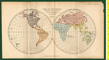 #41963 England1894. Vintage map of the World / six Regions. Royal Geog.Society