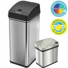 iTouchless 13 Gallon and 2.5 Sensor Trash Stainless Steel (Set of 2)
