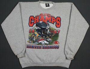Denver Broncos VTG 1997 AFC Champs Starter Crewneck Sweatshirt Large Super Bowl