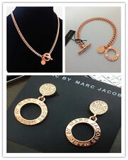 Hot Marc by M Jacobs Hollow Rose Gold Letters Lock Bracelet Earrings Necklace