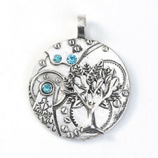 Tree of Life Pendant with Blue Rhinestones,Antique Silver,Make Your Own Necklace