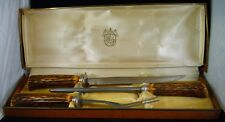VINTAGE Washington Forge Stainless Steel 3 Piece Carving Set Horn-look