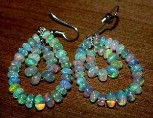 Ethiopian opal  - Sterling Silver Earrings, Roundel  Rainbow Opal Bead Earrings,