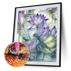 Dragonfly Lotus Flower 5D DIY Full Drill Diamond Painting Embroidery Decor N#S7