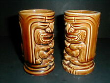 2 Orchids of Hawaii Hawaiiana Brown Ceramic Leilani 2 Faced Tiki God Mugs_Two