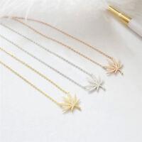 Women Maple Leaf Marijuana Leaves Gold Silver Pendants Necklace Chain Jewelry