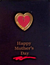 Vintage Valley Casting Happy Mother's Day Red & Gold Tone Heart & Cross Pin New