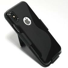 for iPhone X 10 S-Line Black Slim TPU Gel Case with Slim Belt Clip Holster