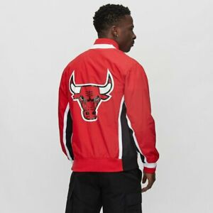 MITCHELL & NESS Chicago Bulls Authentic NYLON Warm Up 1992-93 RED JACKET 3XL 56
