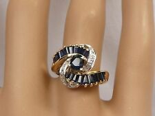 14K Natural Sapphire Ribbon Ring Oval & Baguettes 1.78TCW Diamond Vintage