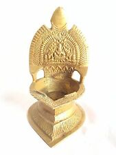 Brass Carved Old Diya Goddess Laxmi OIL Lamps Diya Deepak Hindu Puja Diwali Rare