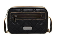 Marc Jacobs Sally Leather Quilted Crossbody Zip Around Black Zip Top Logo New