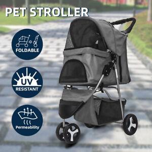 Folding 3 Wheels Pet Stroller Dog cat animal Carrier Pram Travel Trolley Cart