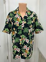 Aloha Republic Vintage Mens Hawaiian Floral pineapple Shirt Hawaii USA l large