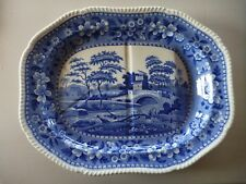 Copeland Spode Blue Tower X Large Meat Platter, Tree & Gravy Well - 21.25x16.75""