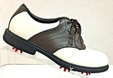Callaway Golf CG Sport Men's Leather Soft Spike White & Brown Oxford Shoe Size 9