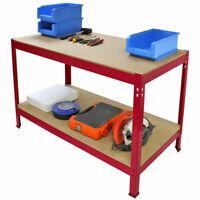 Etabli d'Atelier /Table de Travail Rouge en Acier Sans Boulons 90cm x120cm x60cm