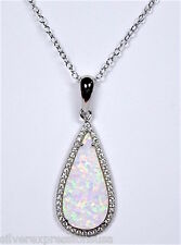White Fire Opal & White Topaz 925 Sterling Silver Teardrop Pendant Necklace 18''