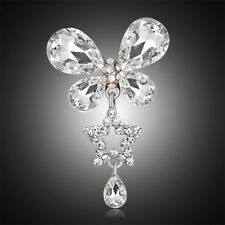 White Gold Plated Glass Rhinestone Dangle Bouquet Wedding Party Diy Brooch Pin