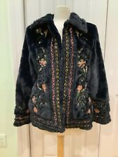 NWT Zara Faux Fur Coat Size Medium  Dark Navy