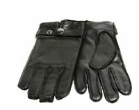 Grandoe Men's Black Leather Touch Tech Gloves with Wrist Snap, Medium