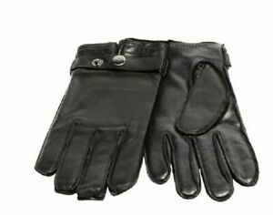 Grandoe Men's Black Leather Touch Tech Gloves with Wrist Snap, Medium