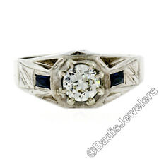 Antique Art Deco Mens 14K White Gold .90ct European Diamond Sapphire Etched Ring